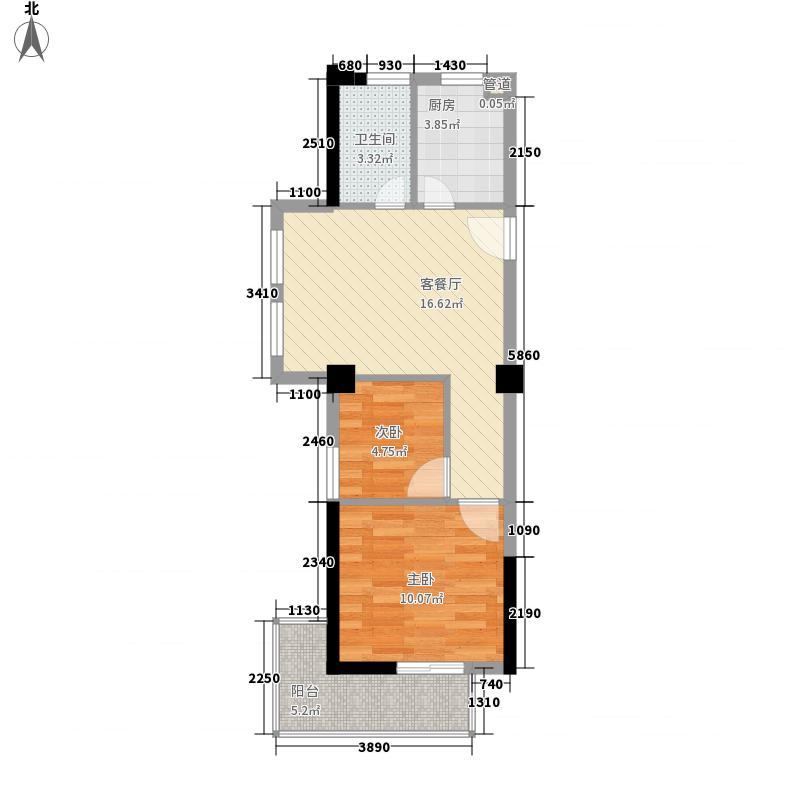 摩卡小镇63.00㎡公寓一号户型1室1厅1卫1厨