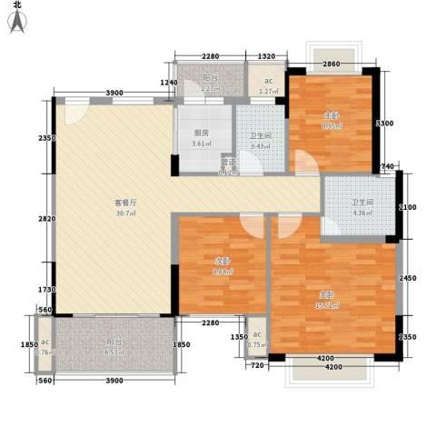 雅园新村3室1厅2卫1厨121.00㎡户型图