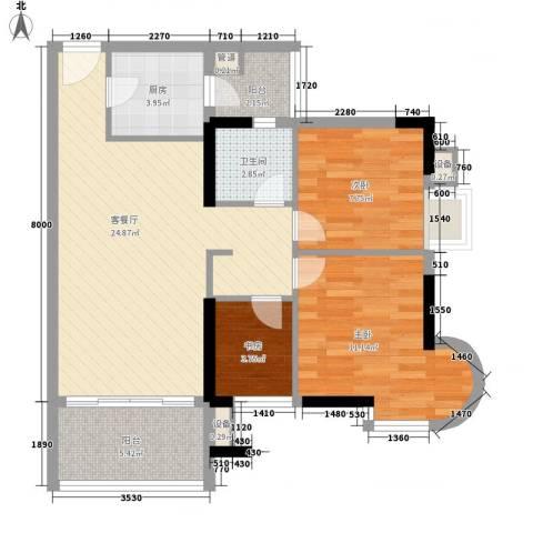 云景名都3室1厅1卫1厨91.00㎡户型图