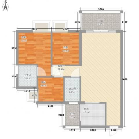 美力百富雅苑二期3室1厅2卫1厨96.00㎡户型图