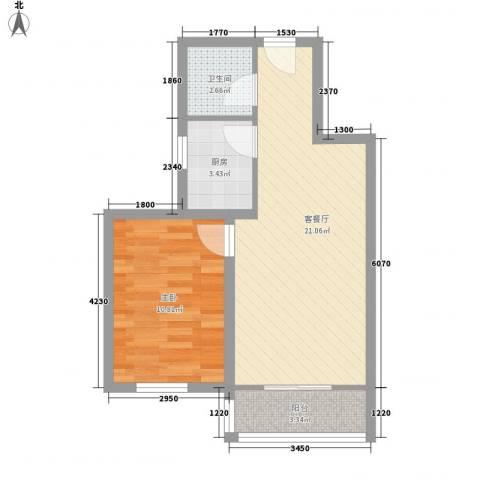 新景家园1室1厅1卫1厨47.50㎡户型图