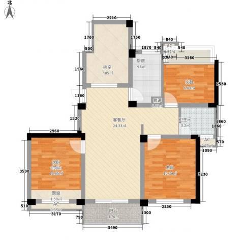 绿地运河纪3室1厅1卫1厨108.00㎡户型图