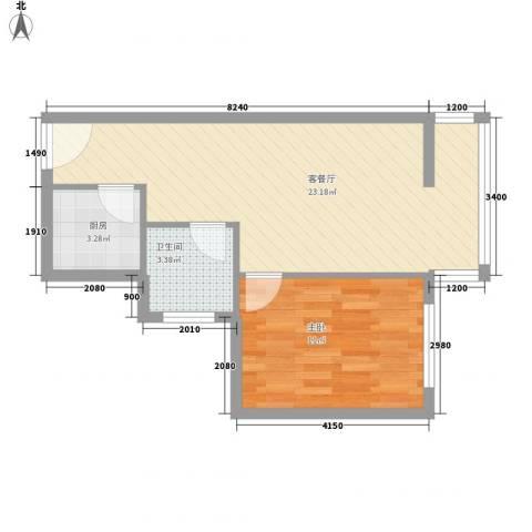 新景家园1室1厅1卫1厨58.00㎡户型图