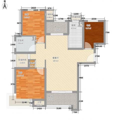 万年乐享世界3室1厅1卫1厨114.00㎡户型图