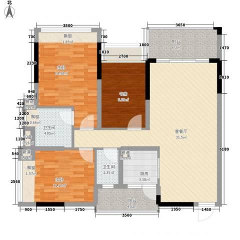 格林春天3室1厅2卫1厨87.94㎡户型图