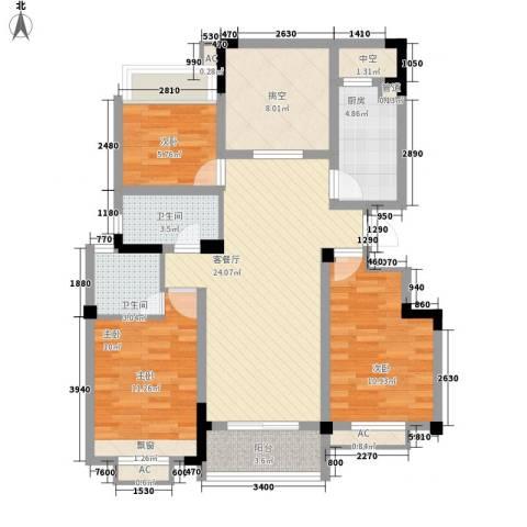 绿地运河纪3室1厅2卫1厨116.00㎡户型图