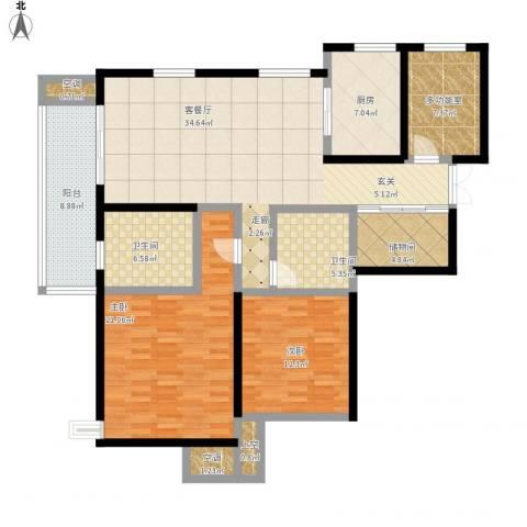 富力十号2室1厅2卫1厨162.00㎡户型图