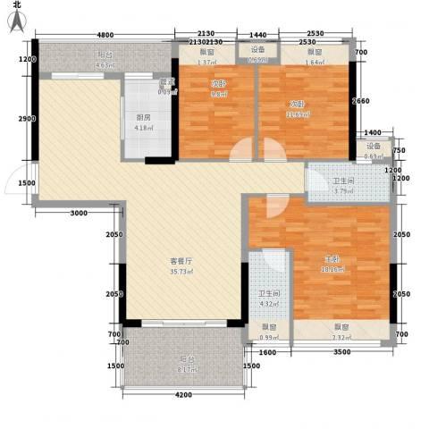 格林春天3室1厅2卫1厨115.00㎡户型图