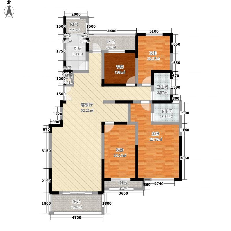 银河湾167.00㎡一期高层B户型4室2厅2卫1厨