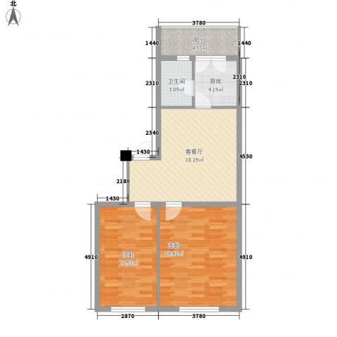 金山小区2室1厅1卫1厨84.00㎡户型图
