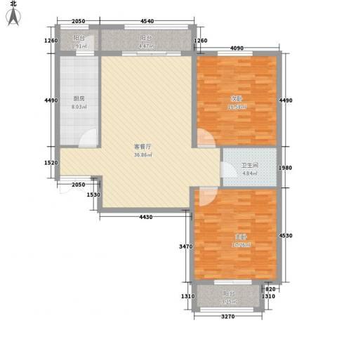 元和国际2室1厅1卫1厨104.55㎡户型图