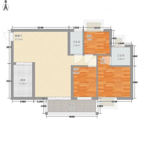 美力百富雅苑二期3室1厅2卫1厨91.00㎡户型图