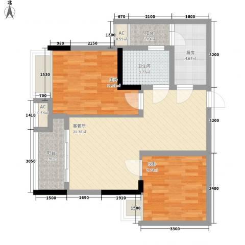 泽胜中央广场2室1厅1卫1厨85.00㎡户型图