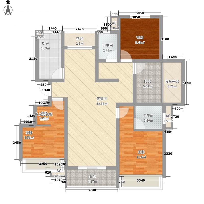 绿地运河纪户型图三期GC3户型 3室2厅2卫1厨