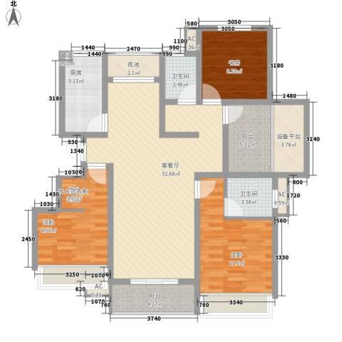绿地运河纪3室1厅2卫1厨133.00㎡户型图