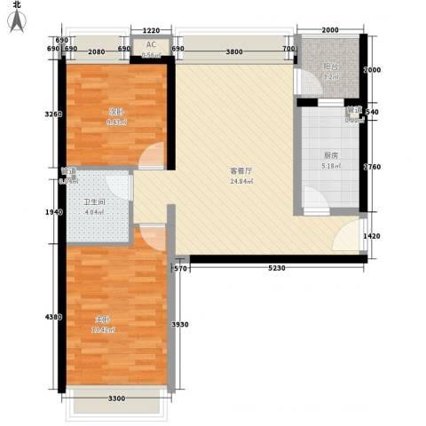 珠江东都国际2室1厅1卫1厨85.00㎡户型图