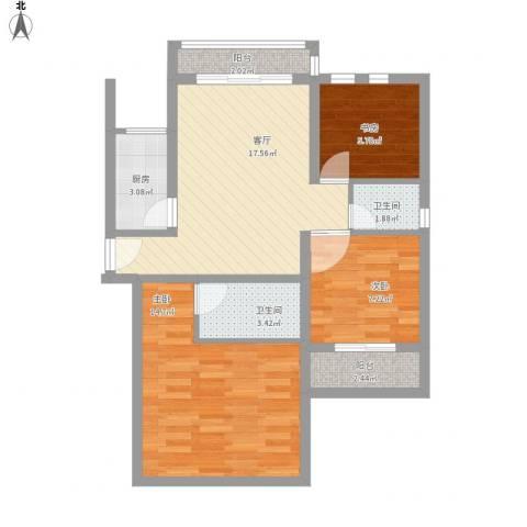 银溪春墅23室1厅2卫1厨85.00㎡户型图