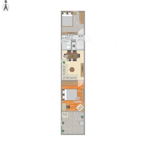上南五村2室1厅1卫1厨60.00㎡户型图