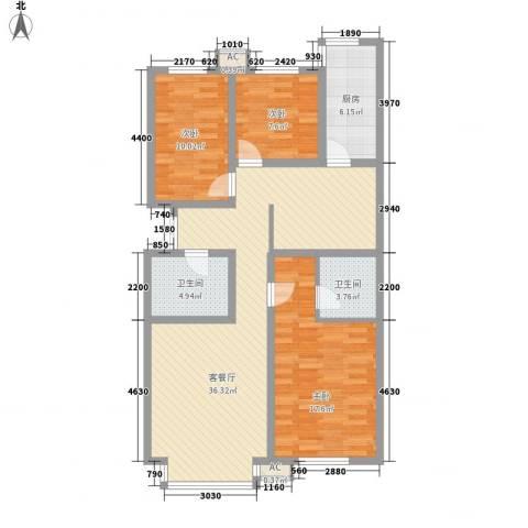 秋实e景二期3室1厅2卫1厨126.00㎡户型图