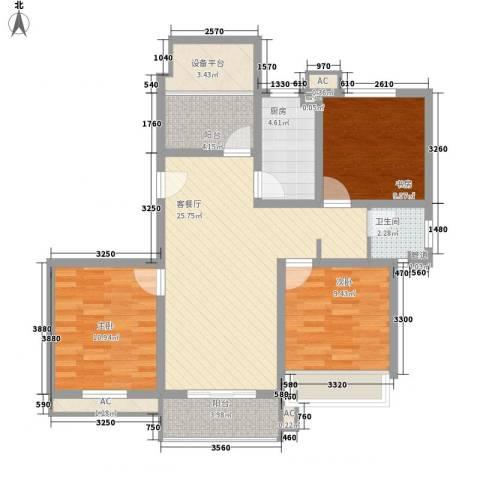 绿地运河纪3室1厅1卫1厨111.00㎡户型图
