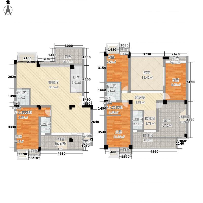 水逸康桥204.20㎡B5-6户型4室3厅4卫1厨