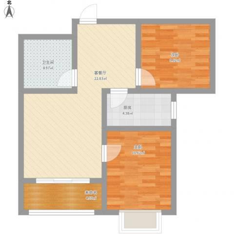 石臼老街2室1厅1卫1厨82.00㎡户型图