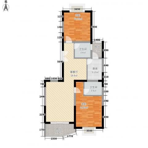 海洲国际华园2室1厅2卫1厨113.00㎡户型图