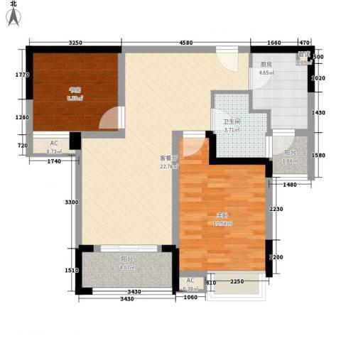 绿地运河纪2室1厅1卫1厨87.00㎡户型图