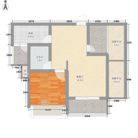 绿地运河纪1室1厅1卫1厨73.00㎡户型图
