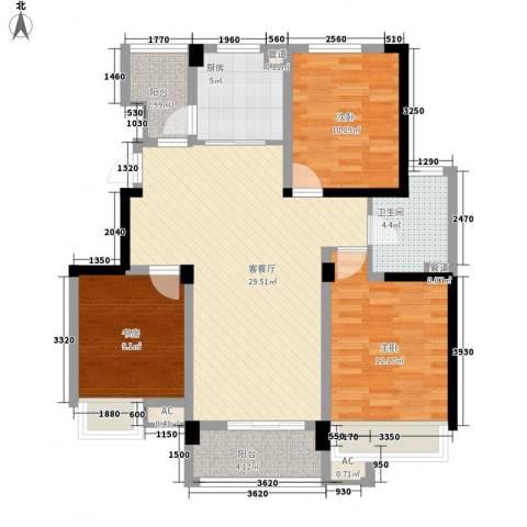 绿地运河纪3室1厅1卫1厨115.00㎡户型图