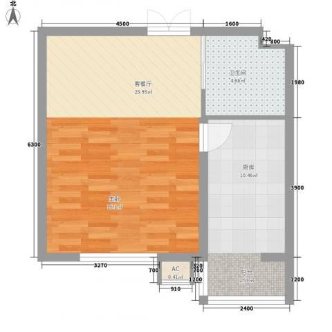 秋实e景二期1厅1卫1厨52.00㎡户型图
