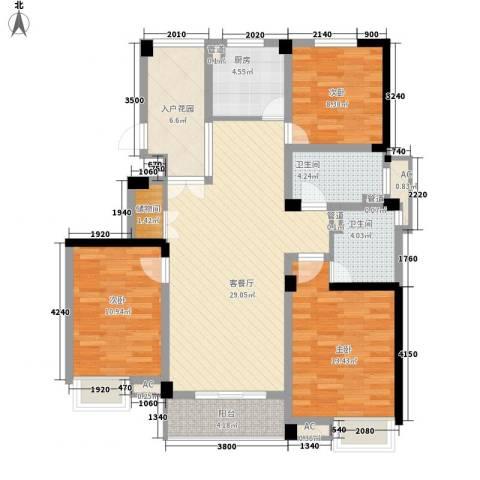 绿地运河纪3室1厅2卫1厨130.00㎡户型图