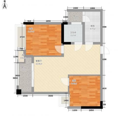 泽胜中央广场2室1厅1卫1厨83.00㎡户型图