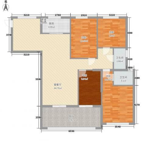 融汇江山4室1厅2卫1厨161.00㎡户型图