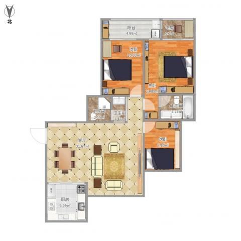 米兰花园4室1厅3卫1厨117.00㎡户型图