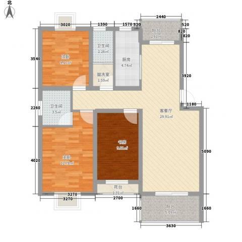 宇扬雨花石文化园3室1厅2卫1厨120.00㎡户型图