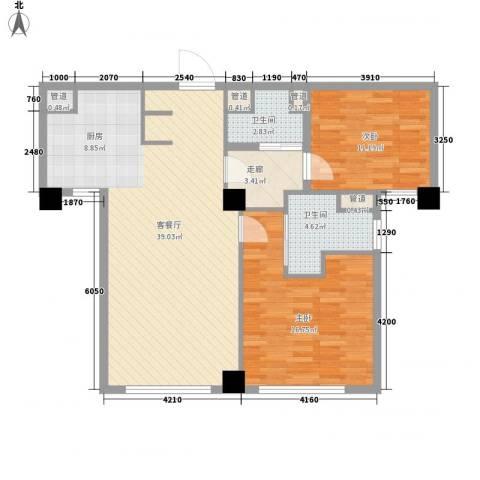 绿城�园2室1厅2卫0厨112.00㎡户型图