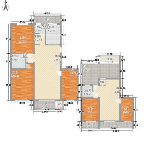 荣泰尚都5室2厅3卫1厨222.00㎡户型图