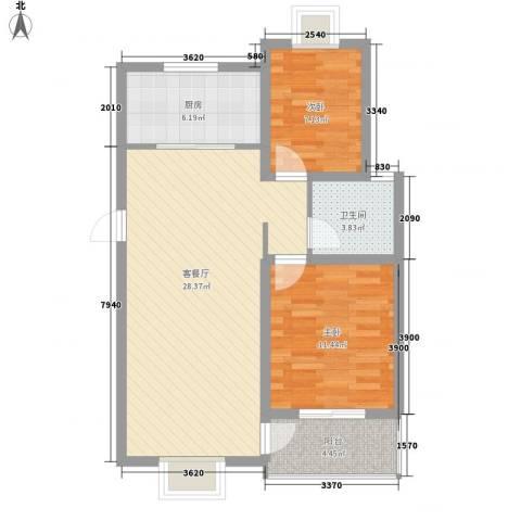 宇扬雨花石文化园2室1厅1卫1厨87.00㎡户型图