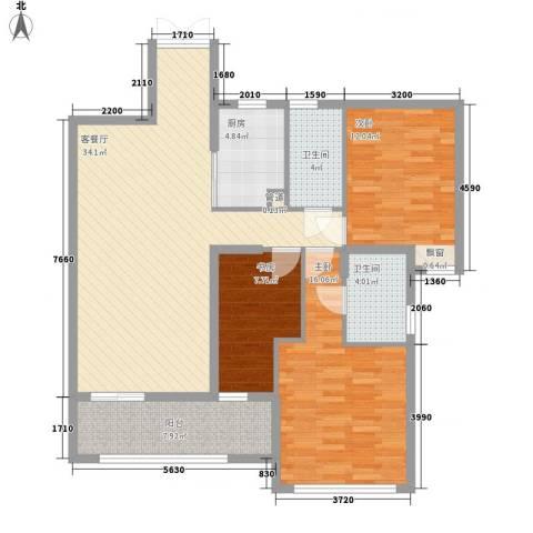 融汇江山3室1厅2卫1厨129.00㎡户型图