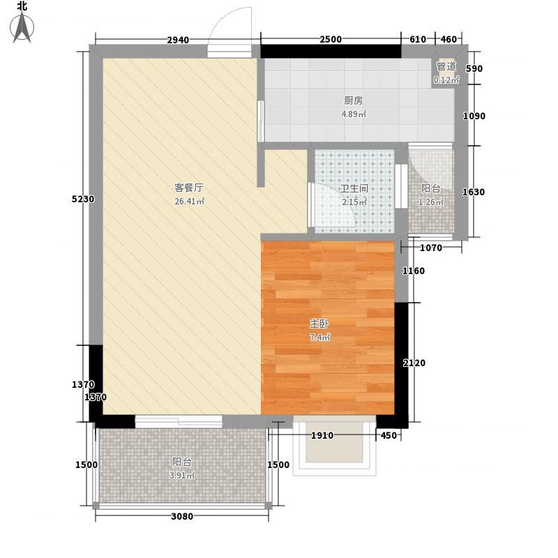 上海滩公馆57.86㎡2-16F户型1室2厅1卫1厨