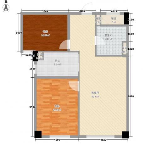 绿城�园2室1厅1卫1厨123.00㎡户型图