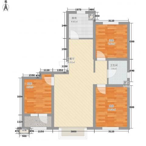首创光和城3室1厅1卫1厨95.00㎡户型图