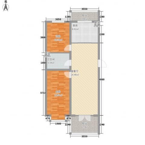 新龙城2室1厅1卫1厨114.00㎡户型图