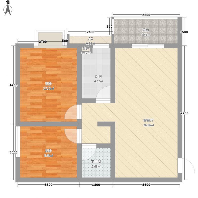 天朗大兴郡80.00㎡天朗大兴郡户型图4-B'户型2室2厅1卫1厨户型2室2厅1卫1厨