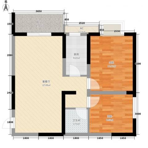 天朗大兴郡2室1厅1卫1厨80.00㎡户型图