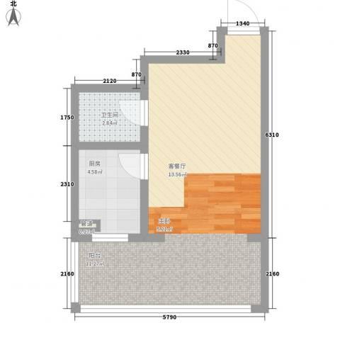 新龙城1厅1卫1厨54.00㎡户型图