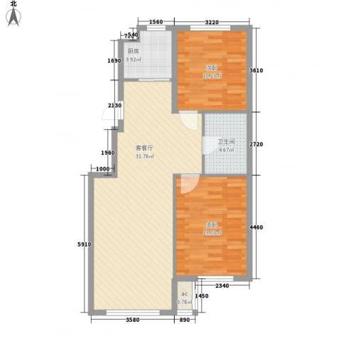 光明山西街2室1厅1卫1厨90.00㎡户型图