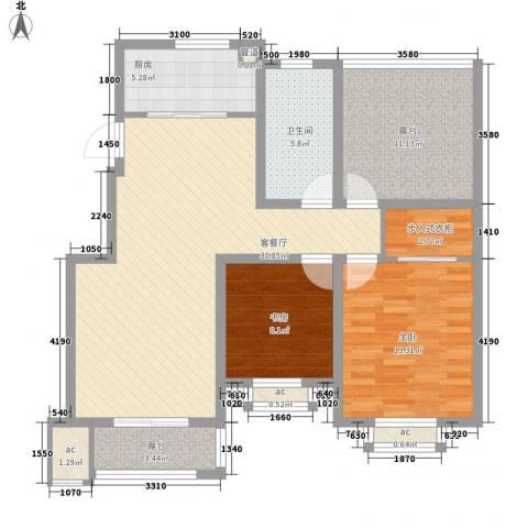 泰和名都2室1厅1卫1厨91.00㎡户型图