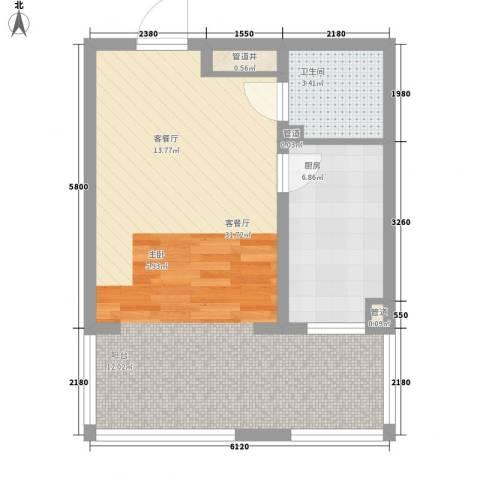 新龙城1厅1卫1厨61.00㎡户型图
